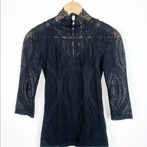 Free People High- Neck Lace Top